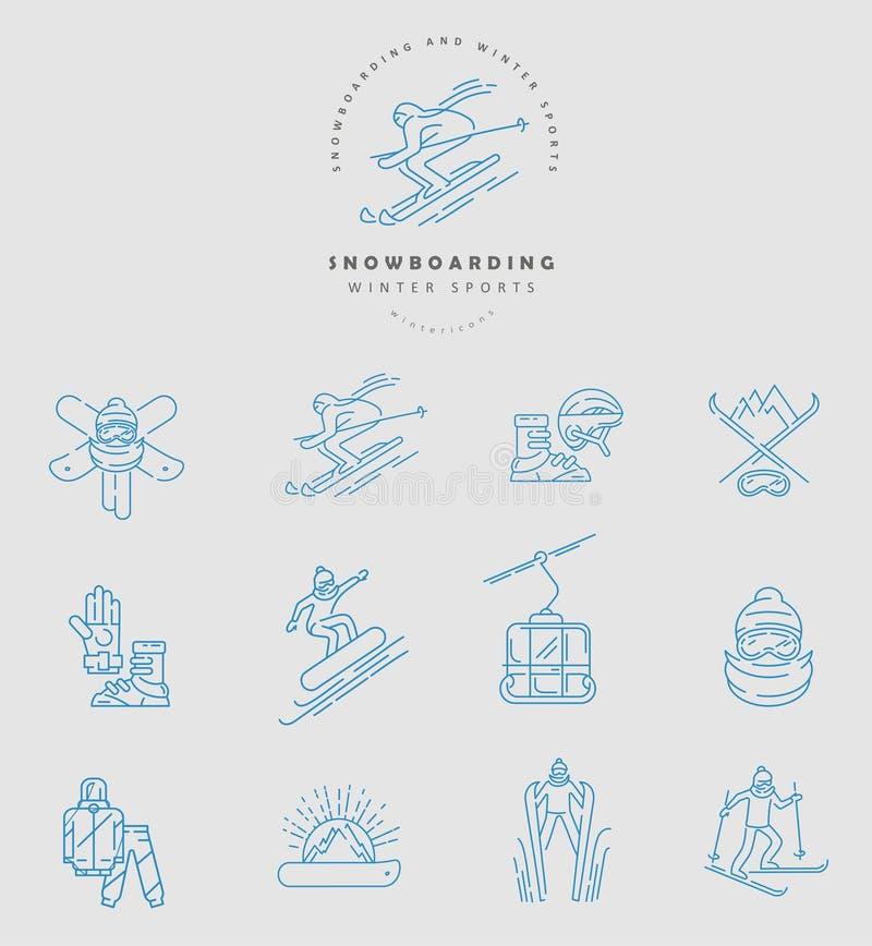 Icône et logo de vecteur pour le snowboarding et le ski ou d'autres sports d'hiver illustration stock