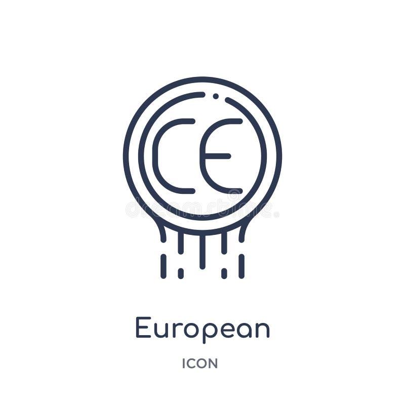 Icône européenne linéaire de conformité de collection d'ensemble de logo Ligne mince icône européenne de conformité d'isolement s illustration de vecteur