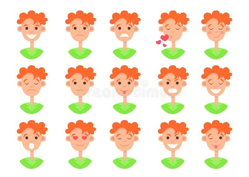 Icône faciale d'émotion, ensemble souriant de visage, dessin coloré plat, collection de sourire Buste roux drôle mignon de type a illustration libre de droits