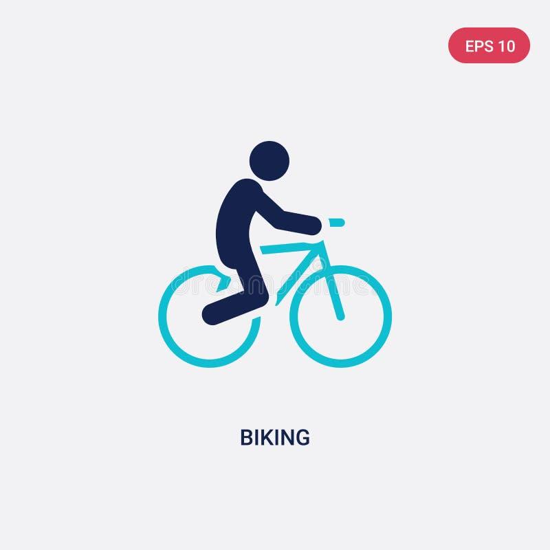icône faisante du vélo de vecteur de deux couleurs de concept d'activités le symbole faisant du vélo bleu d'isolement de signe de illustration de vecteur
