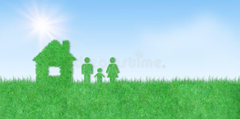 Icône familiale et familiale sur herbe artificielle verte avec ciel bleu et lumière du soleil en arrière-plan illustration stock