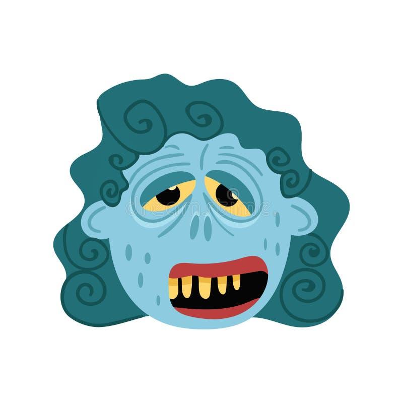 Icône femelle de monstre de zombi dans le style de bande dessinée illustration de vecteur