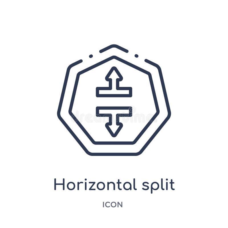 Icône fendue horizontale linéaire de collection d'ensemble de flèches Ligne mince vecteur fendu horizontal d'isolement sur le fon illustration libre de droits