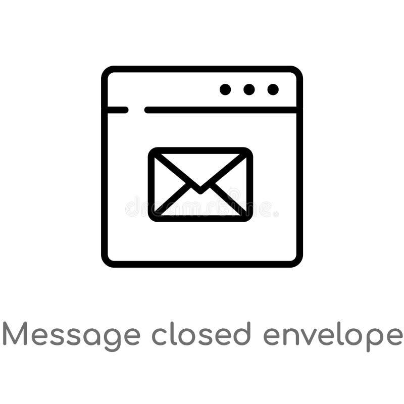 icône fermée de vecteur d'enveloppe de message d'ensemble ligne simple noire d'isolement illustration d'élément de concept de Web illustration de vecteur