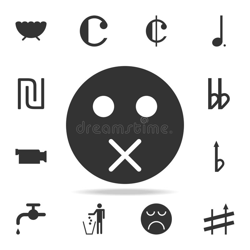 icône fermée de visage de bouche Ensemble détaillé d'icônes et de signes de Web Conception graphique de la meilleure qualité Une  illustration stock