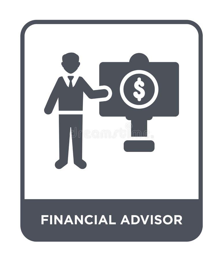 icône financière de conseiller dans le style à la mode de conception icône financière de conseiller d'isolement sur le fond blanc illustration de vecteur