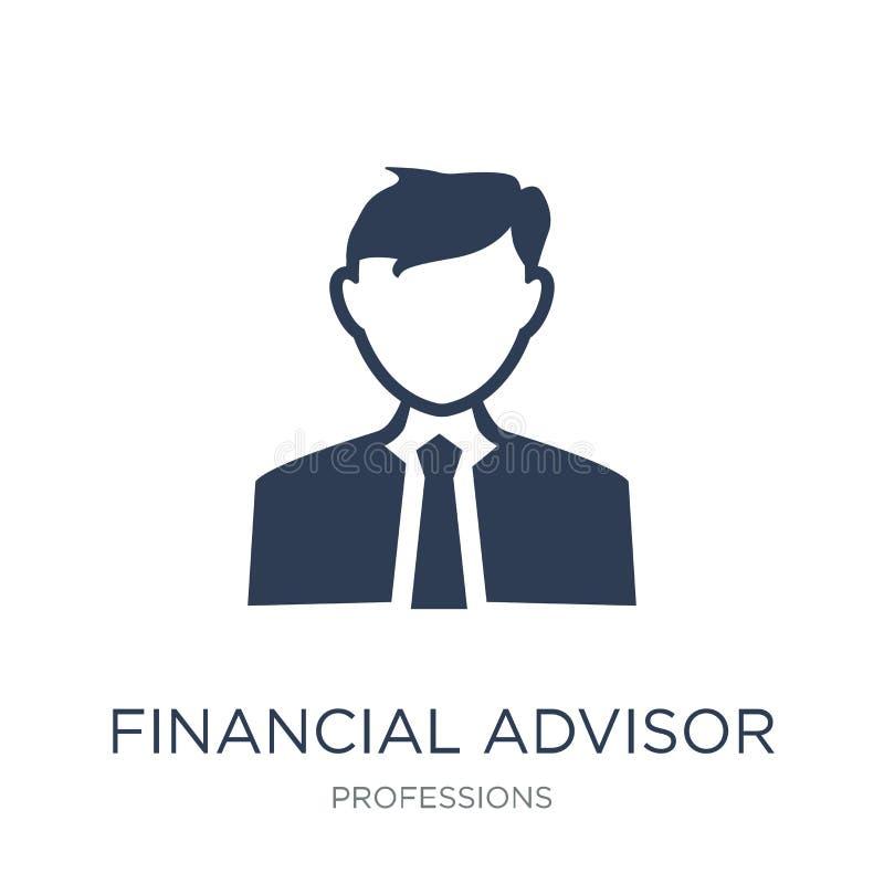 Icône financière de conseiller Ico financier de conseiller de vecteur plat à la mode illustration libre de droits