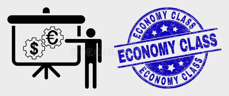Icône financière linéaire de présentation de moteur de vecteur et joint rayé de classe touriste illustration libre de droits