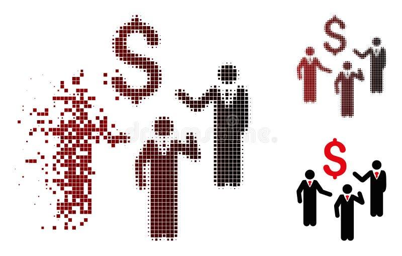 Icône financière tramée de personnes d'hommes d'affaires de discussion de pixel cassé illustration de vecteur