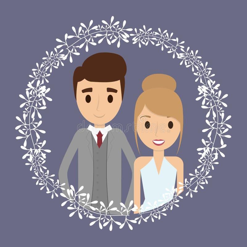 Icône florale de mariage de bande dessinée de couples Dessin de vecteur illustration de vecteur