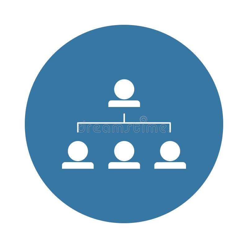 icône fonctionnante de hiérarchie dans le style d'insigne illustration de vecteur