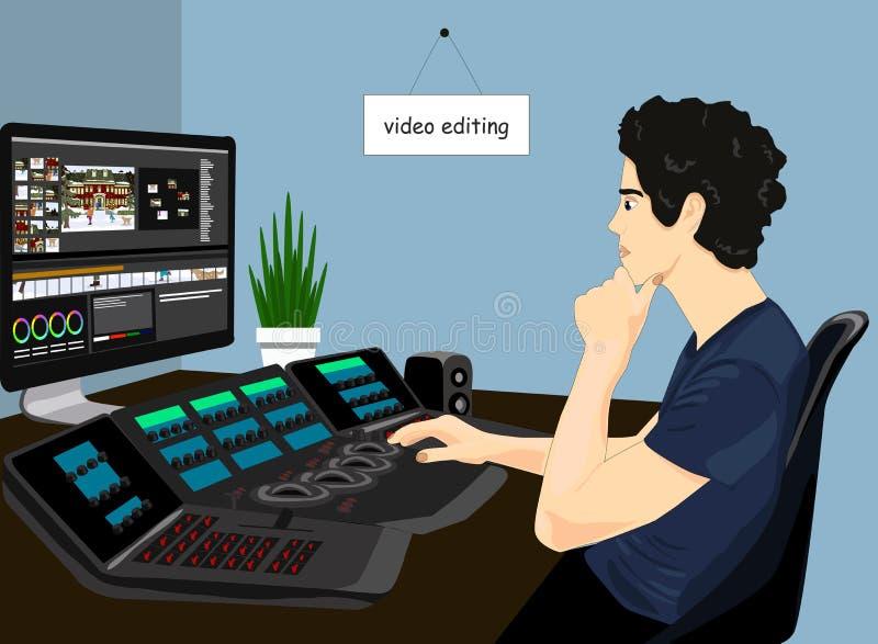 Icône fonctionnante de vecteur de table de montage Concept de l'illustration de édition visuelle Homme sur la chaise éditant la v illustration stock