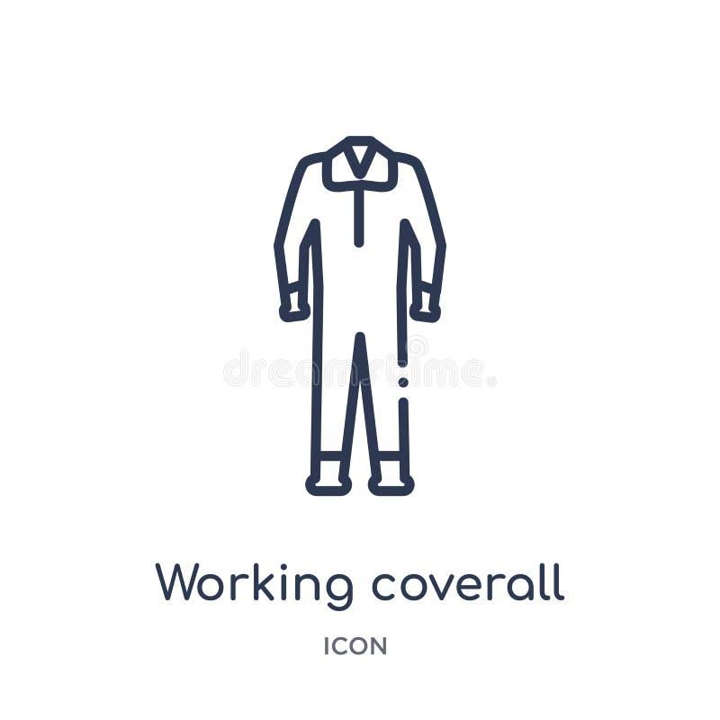 Icône fonctionnante linéaire de combinaison de collection d'ensemble de mode Ligne mince icône fonctionnante de combinaison d'iso illustration stock
