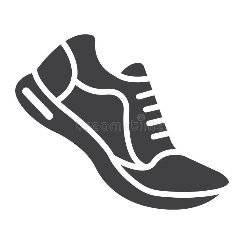 Icône, forme physique et sport de glyph de chaussures de course illustration stock