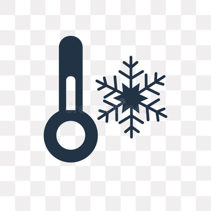 Icône froide de vecteur de la température d'isolement sur le fond transparent, illustration stock