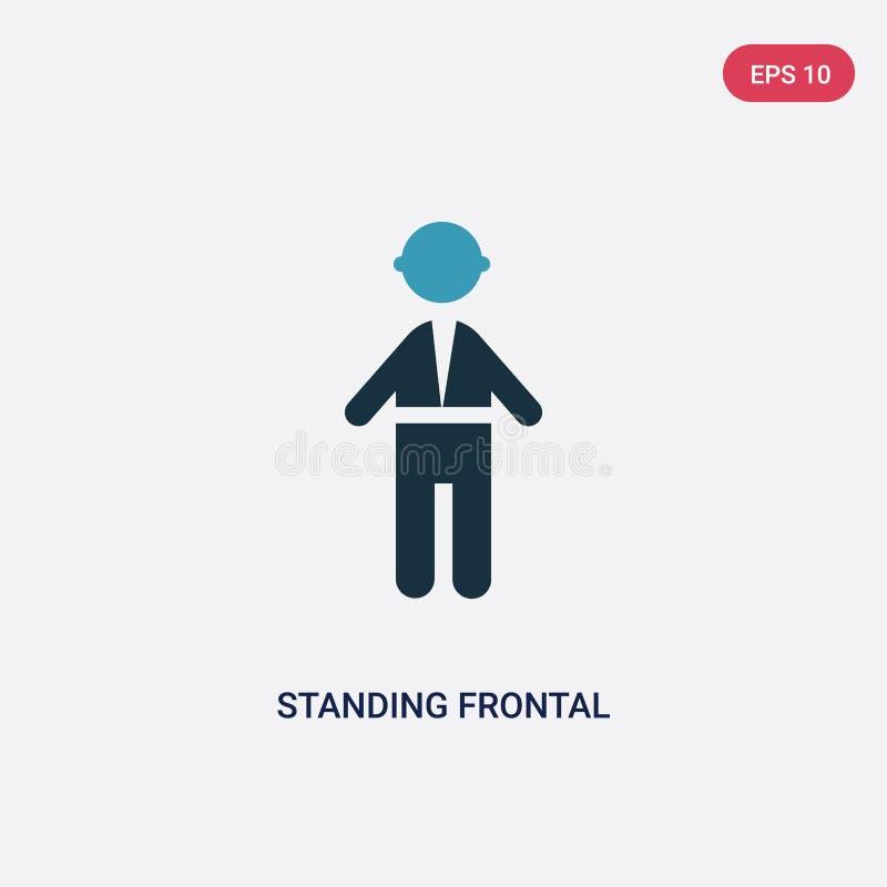Icône frontale de vecteur d'homme de position de deux couleurs de concept de personnes le symbole frontal d'isolement de signe de illustration stock