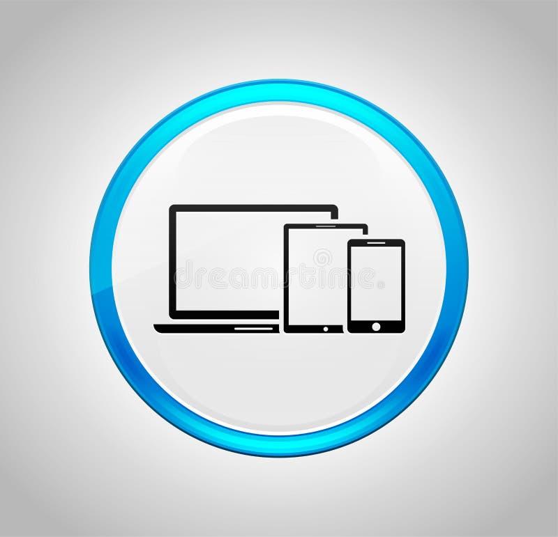 Icône futée de dispositifs de Digital autour de bouton poussoir bleu illustration de vecteur
