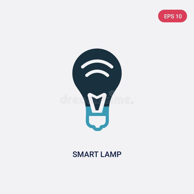 Icône futée de vecteur de lampe de deux couleurs de concept à la maison futé le symbole futé bleu d'isolement de signe de vecteur illustration stock