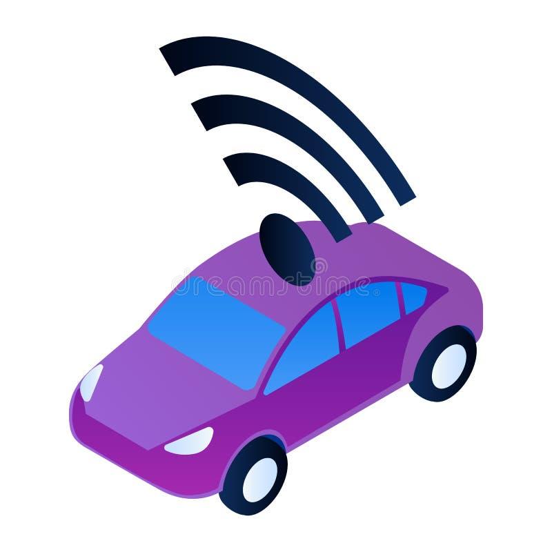 Icône futée de voiture de ville, style isométrique illustration stock