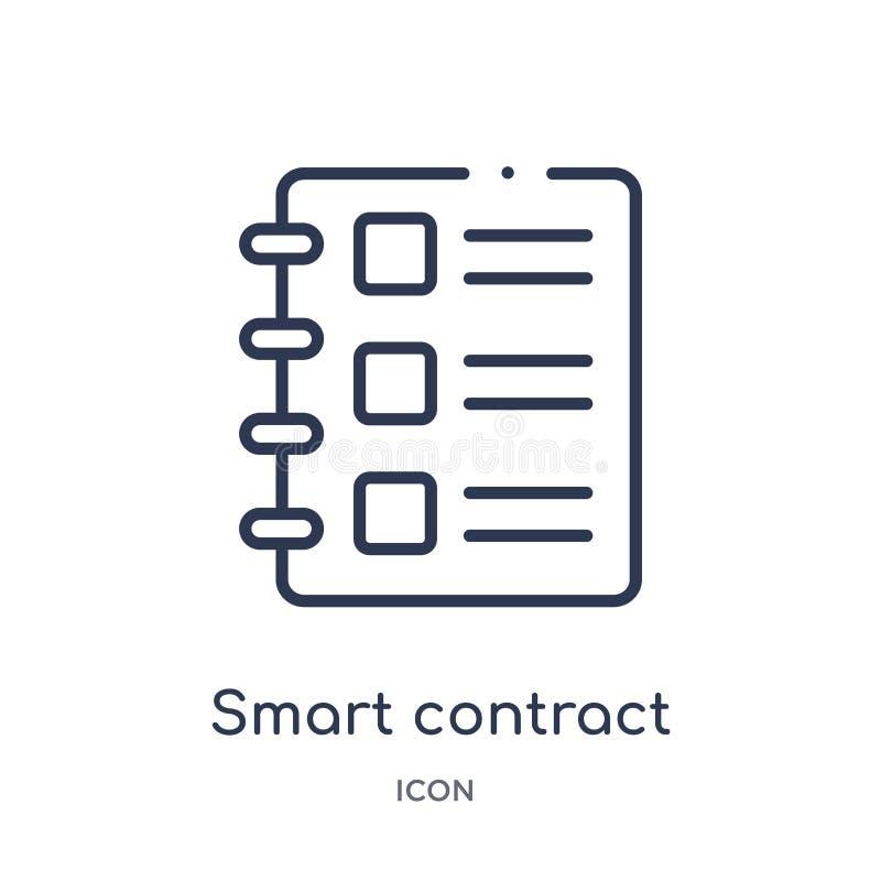 Icône futée linéaire de contrat de collection d'ensemble général Ligne mince icône futée de contrat d'isolement sur le fond blanc illustration de vecteur