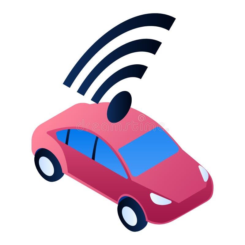 Icône futée rouge de voiture, style isométrique illustration stock