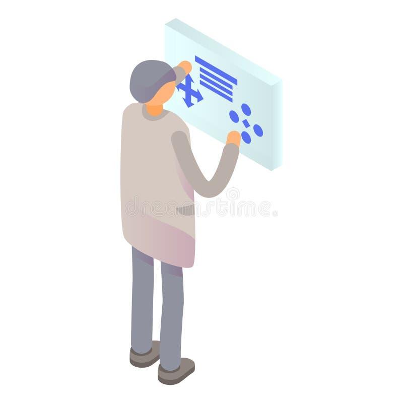 Icône futuriste d'écran d'homme, style isométrique illustration libre de droits