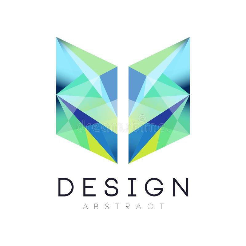 Icône géométrique créative dans des couleurs bleues et vertes de gradient Calibre abstrait de logo Identité de marquage à chaud d illustration stock