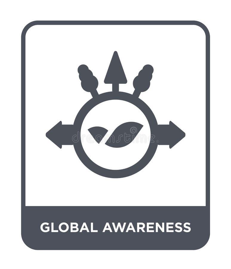 icône globale de conscience dans le style à la mode de conception icône globale de conscience d'isolement sur le fond blanc icône illustration de vecteur