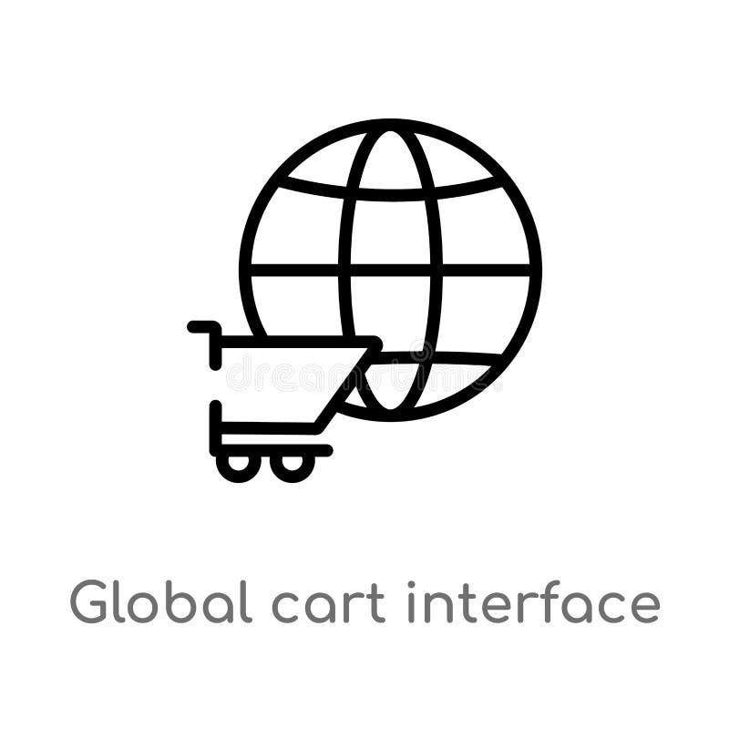 icône globale de vecteur d'interface de chariot d'ensemble r editable illustration stock