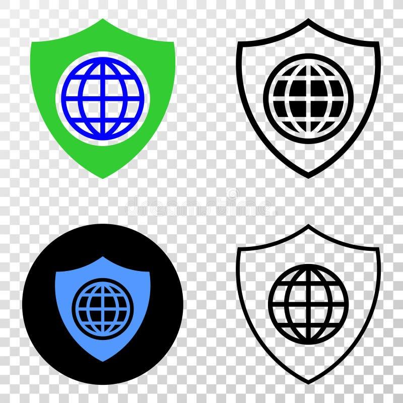 Icône globale du vecteur ENV de bouclier avec la version de découpe illustration libre de droits