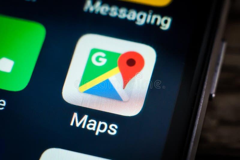 Icône Google Maps d'application photographie stock
