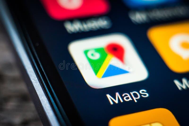 Icône Google Maps d'application photographie stock libre de droits