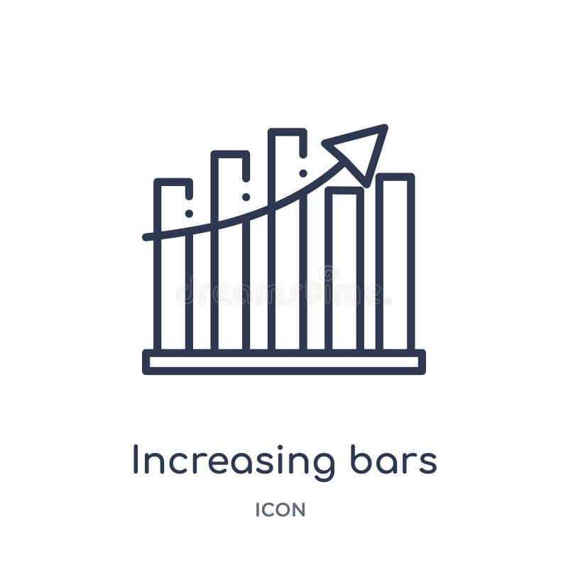 icône graphique croissante de barres de collection d'ensemble d'interface utilisateurs Ligne mince icône graphique croissante de  illustration stock