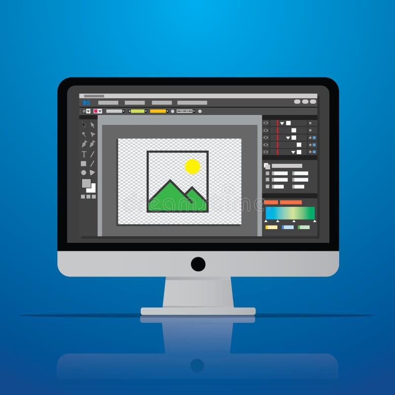 icône graphique de logiciel de rédacteur de photo de photo sur l'ordinateur de bureau i illustration stock