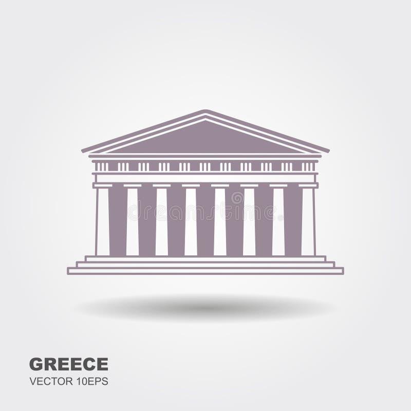 Icône grecque de parthenon d'isolement sur le fond blanc illustration de vecteur