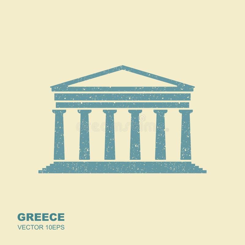 Icône grecque de parthenon dans le style plat avec érailler l'effet illustration stock