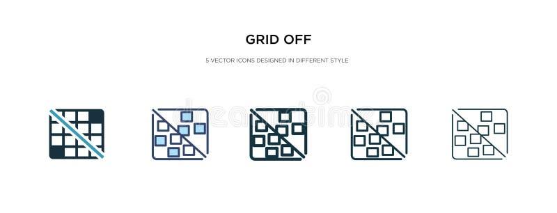 Icône Grille off dans une autre illustration du vecteur de style deux quadrillages en couleur et en noir sur des icônes vectoriel illustration stock