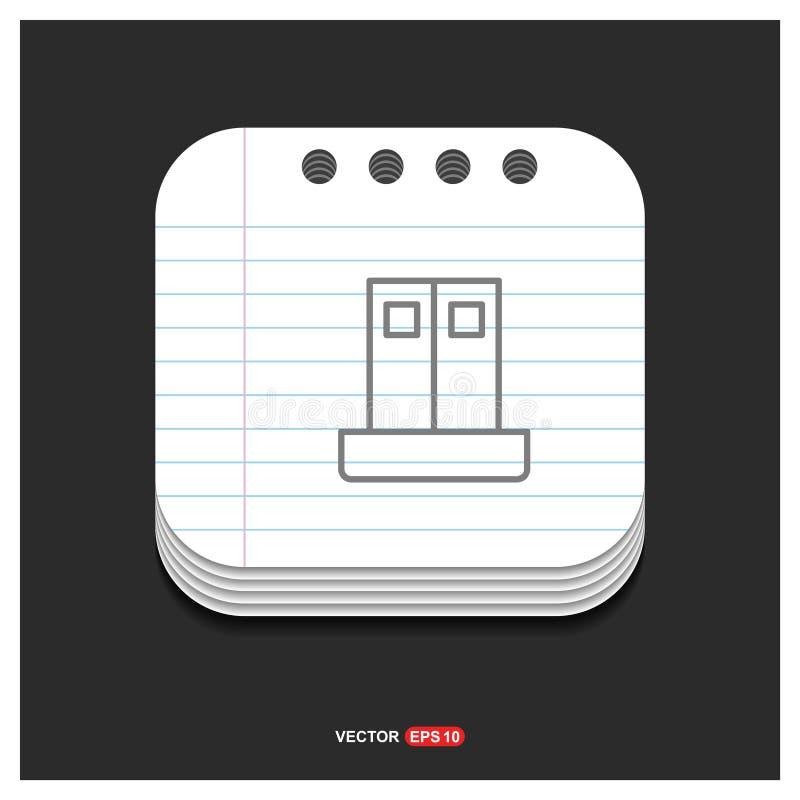 Icône grise d'icône de garde-robe de placard sur le calibre Vecto de style de bloc-notes illustration de vecteur