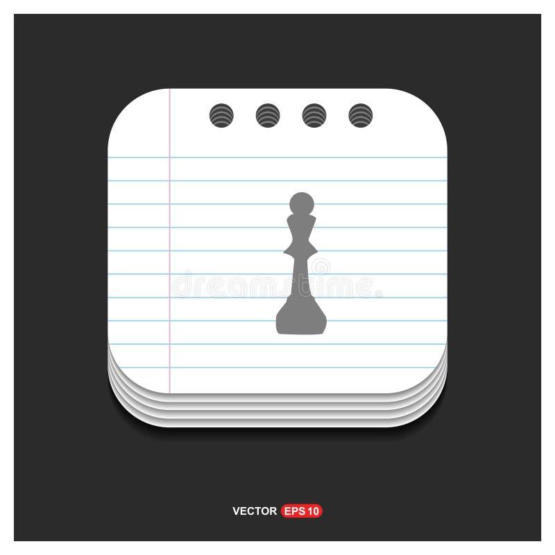 Icône grise d'icônes d'échecs sur le vecteur ENV de calibre de style de bloc-notes 10 francs illustration libre de droits
