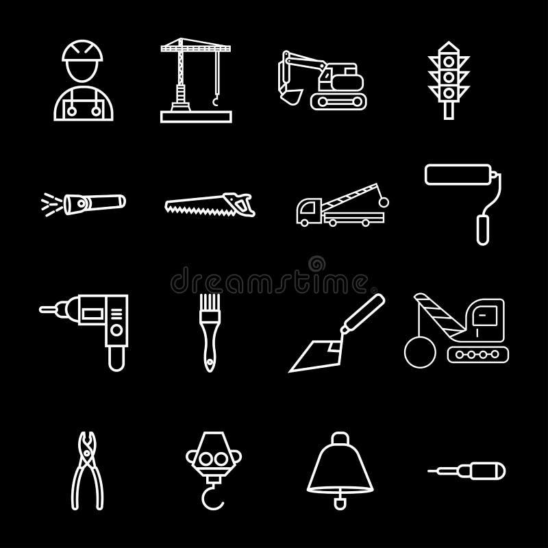 Icône grise de couleur de style de glyph de symbole de signe de vecteur d'icône de construction illustration libre de droits