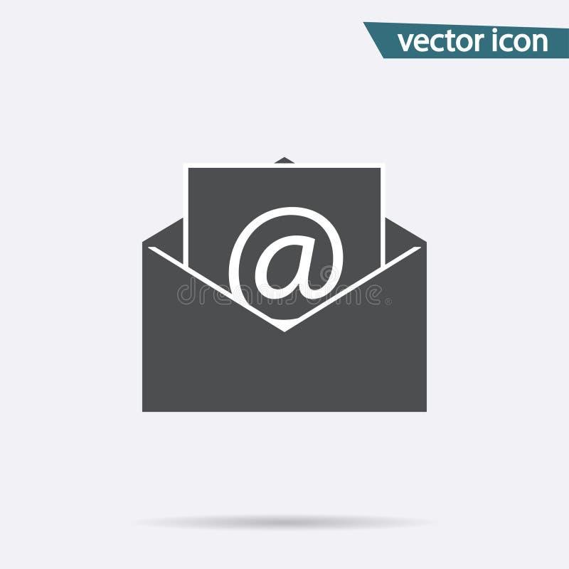 Icône grise de courrier d'isolement sur le fond Pictogramme plat moderne, affaires, vente, concept d'Internet illustration stock