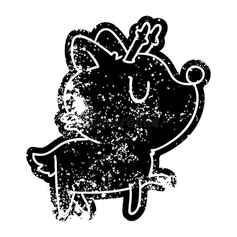 ic?ne grunge des cerfs communs mignons de kawaii illustration de vecteur