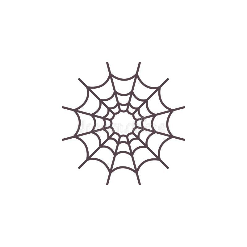 Icône Halloween Evil Spiderweb Signe de tissu Devil Cobweb Style plat de dessin Symbole traditionnel d'Halloween et de drogue illustration stock