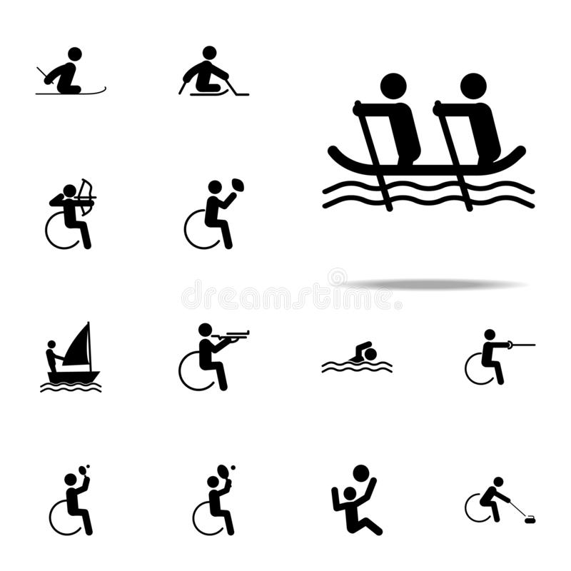 icône handicapée d'aviron de sport ensemble universel d'icônes paralympic pour le Web et le mobile illustration stock
