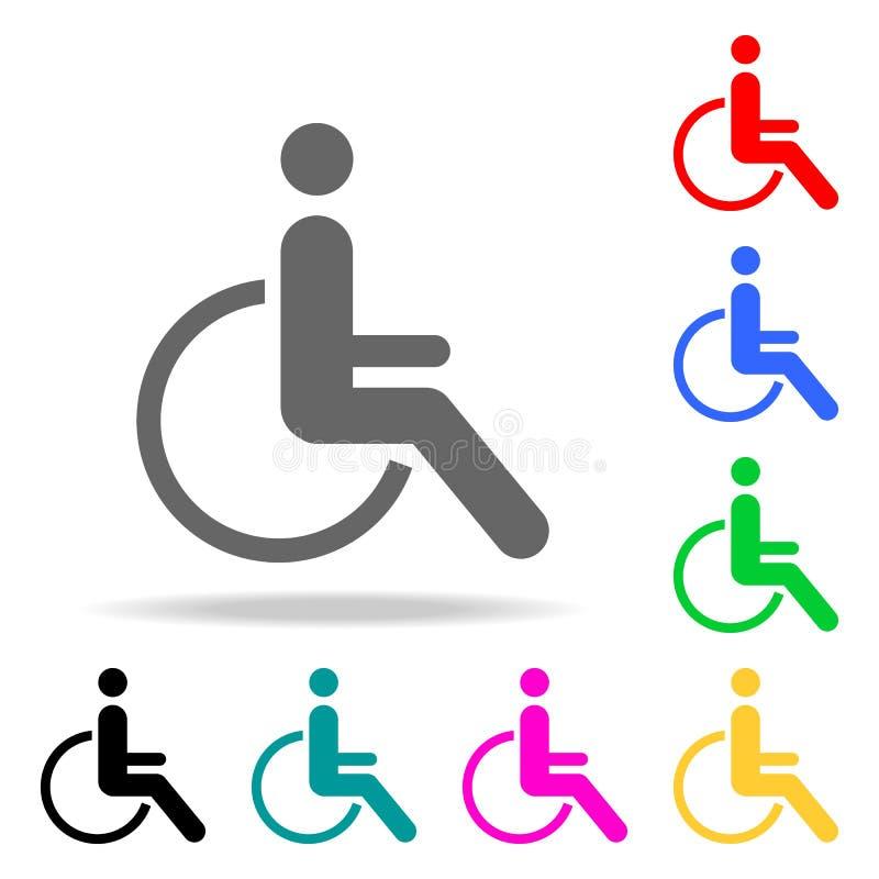 Icône handicapée d'handicap Éléments dans les icônes colorées multi pour les apps mobiles de concept et de Web Icônes pour la con illustration de vecteur