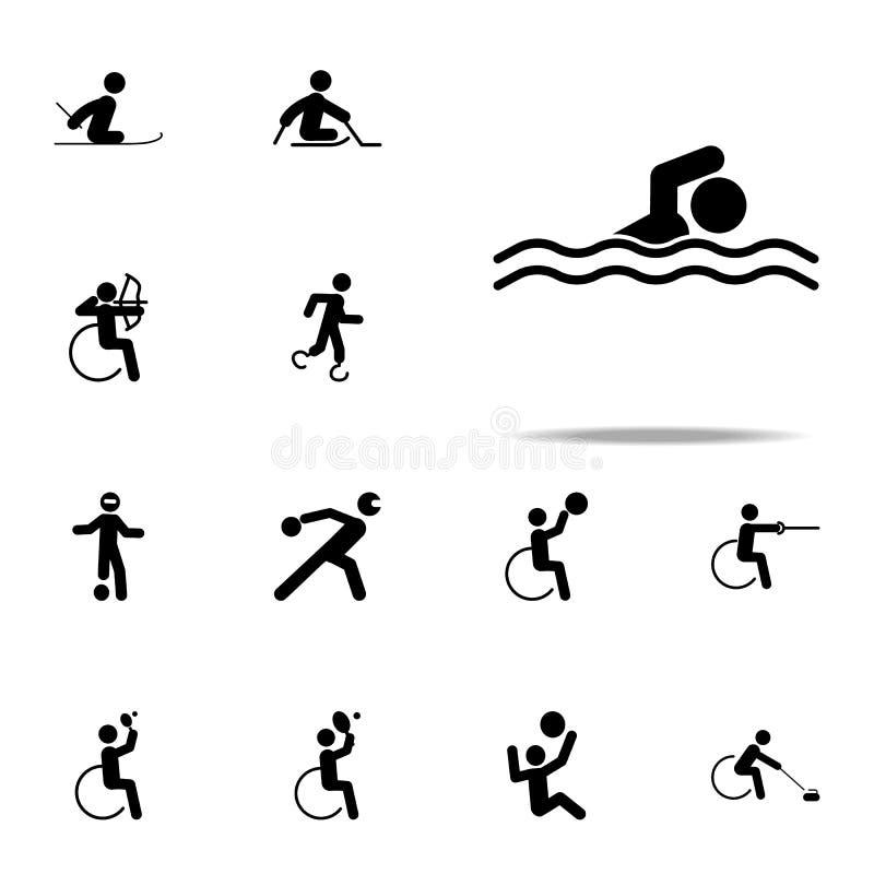 icône handicapée de bain de sport ensemble universel d'icônes paralympic pour le Web et le mobile illustration de vecteur