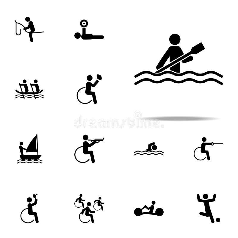 icône handicapée de canoë de sport ensemble universel d'icônes paralympic pour le Web et le mobile illustration libre de droits
