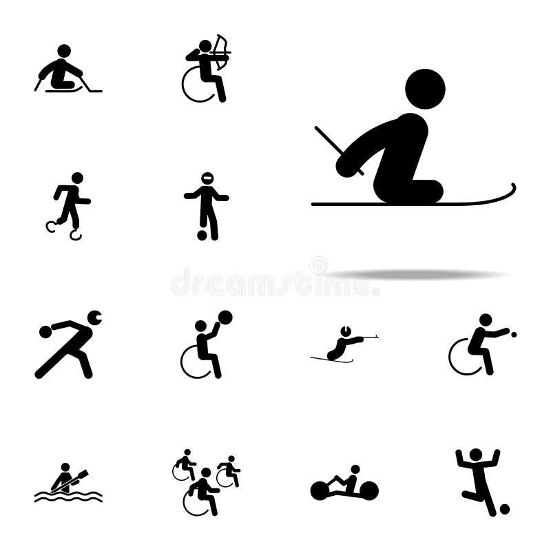 icône handicapée de ski de pays croisé de sport ensemble universel d'icônes paralympic pour le Web et le mobile illustration stock