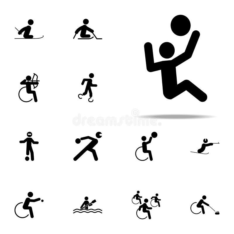 icône handicapée de volleyball de sport ensemble universel d'icônes paralympic pour le Web et le mobile illustration libre de droits