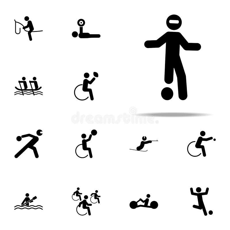 icône handicapée du football de boule de sport ensemble universel d'icônes paralympic pour le Web et le mobile illustration de vecteur